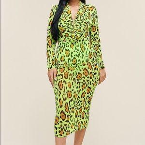 Neon Leopard Midi Dress